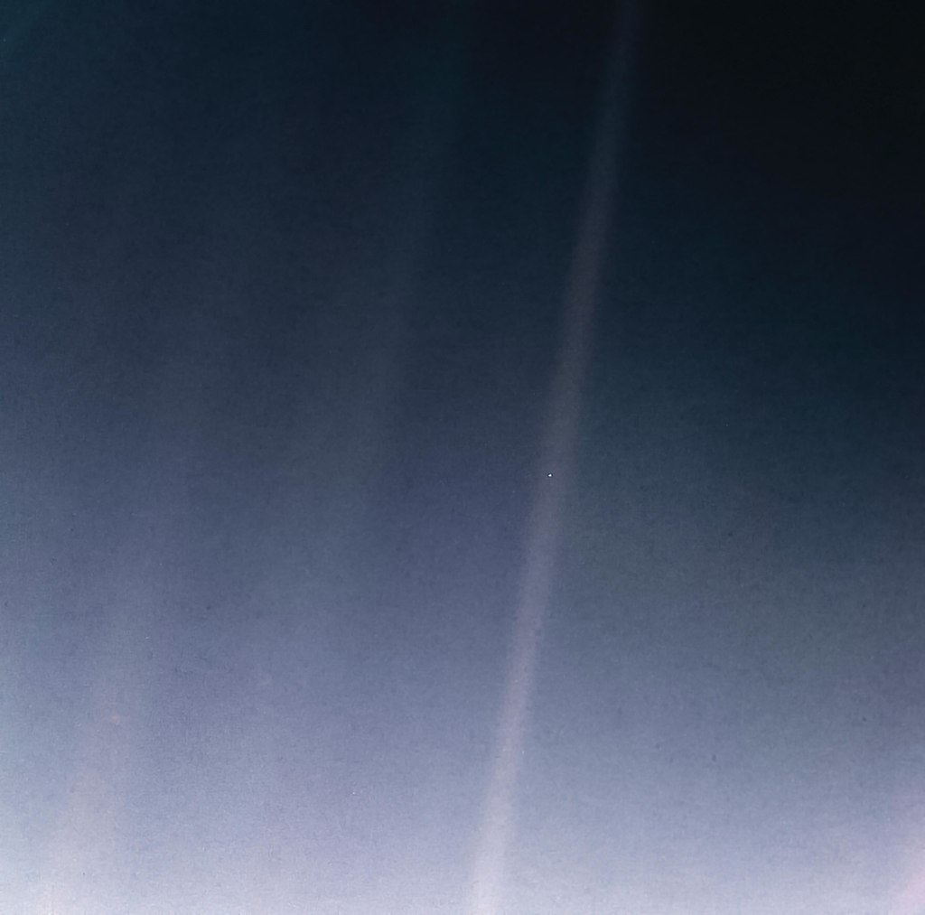Pale Blue Dot as republished by NASA in 2020 for the images' 30th anniversary